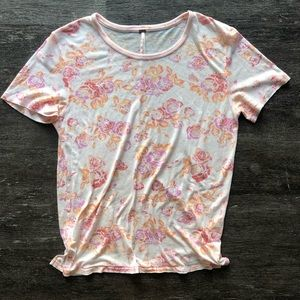 NWOT Free People raw hem floral tee